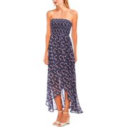 Vince Camuto Womens Strapless Floral Maxi Dress Blue M