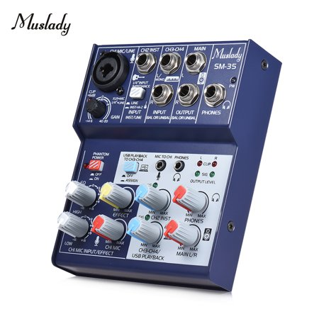 Muslady SM-35 Compact Size 4-Channel Sound Card Mixing Console Digital Audio Mixer Supports 5V Power Bank USB Power Supply 2-band EQ Built-in 48V Phantom (Best Console Sized Gaming Pc)