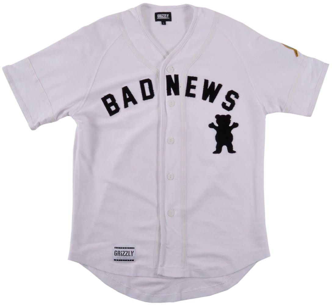6b2b55899 Grizzly Griptape 1976 Bad News Baseball Jersey Shirt Mens White -  Walmart.com