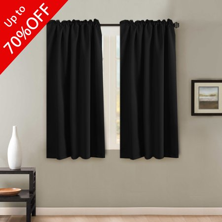 Solid Color Thermal Insulated Blackout Curtains, Back Tab / Rod Pocket  Window 2 Panels Drapes for Bedroom/Living Room 52 x 63 Inch, Black