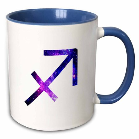 3dRose Sagittarius horoscope symbol - purple zodiac astrological star sign - Two Tone Blue Mug, 11-ounce