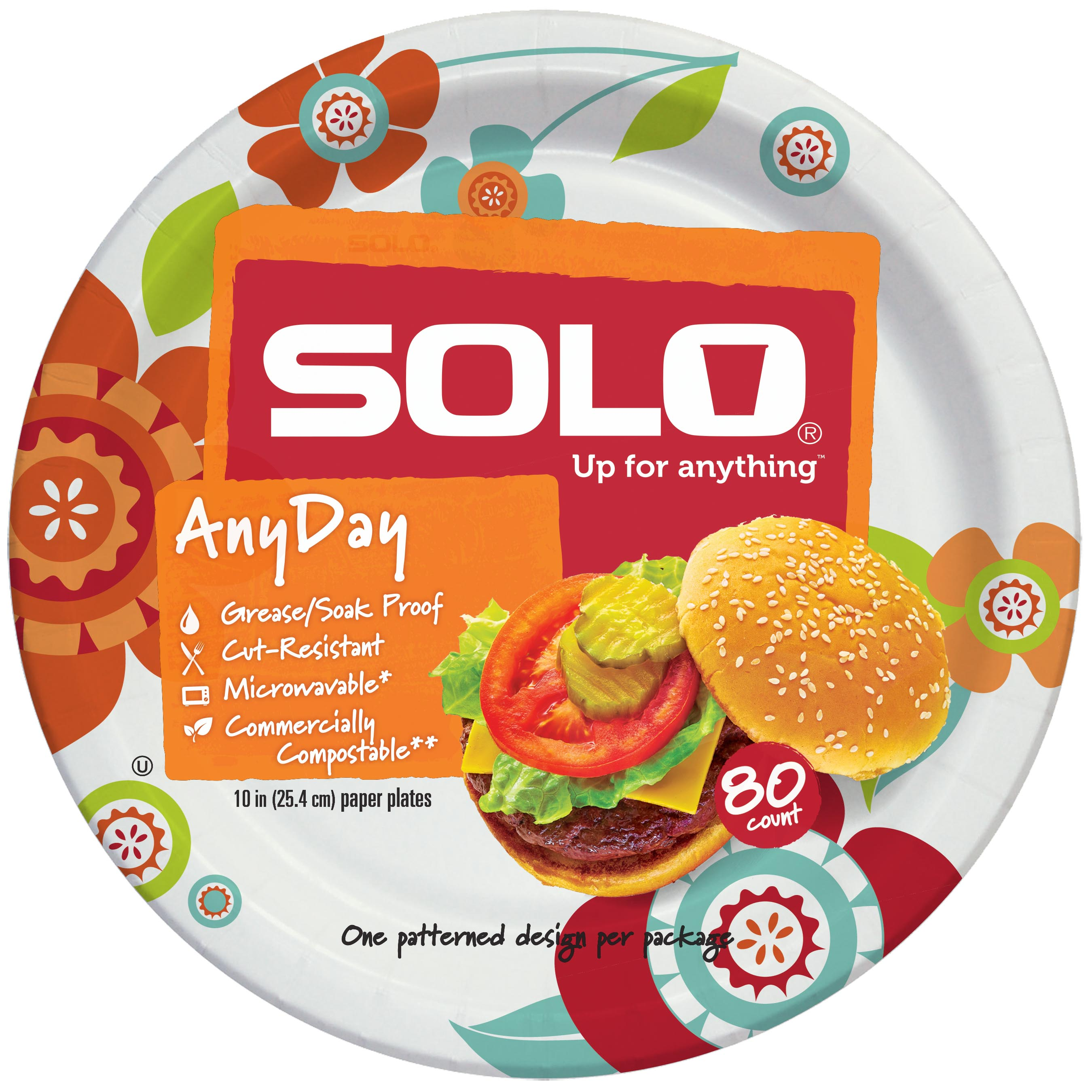 "Solo Any Day Paper Plates, 10"", 80 Count"