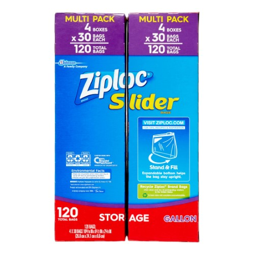 Ziploc Slider Storage Bags, Gallon, 120 Ct
