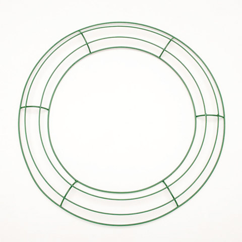 Floral Metal Wreath Form Green 14 Inches