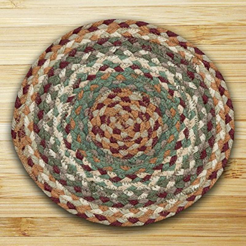 "Earth Rugs MS-413 Round Swatch, 10 x 10"", Buttermilk/Cranberry"