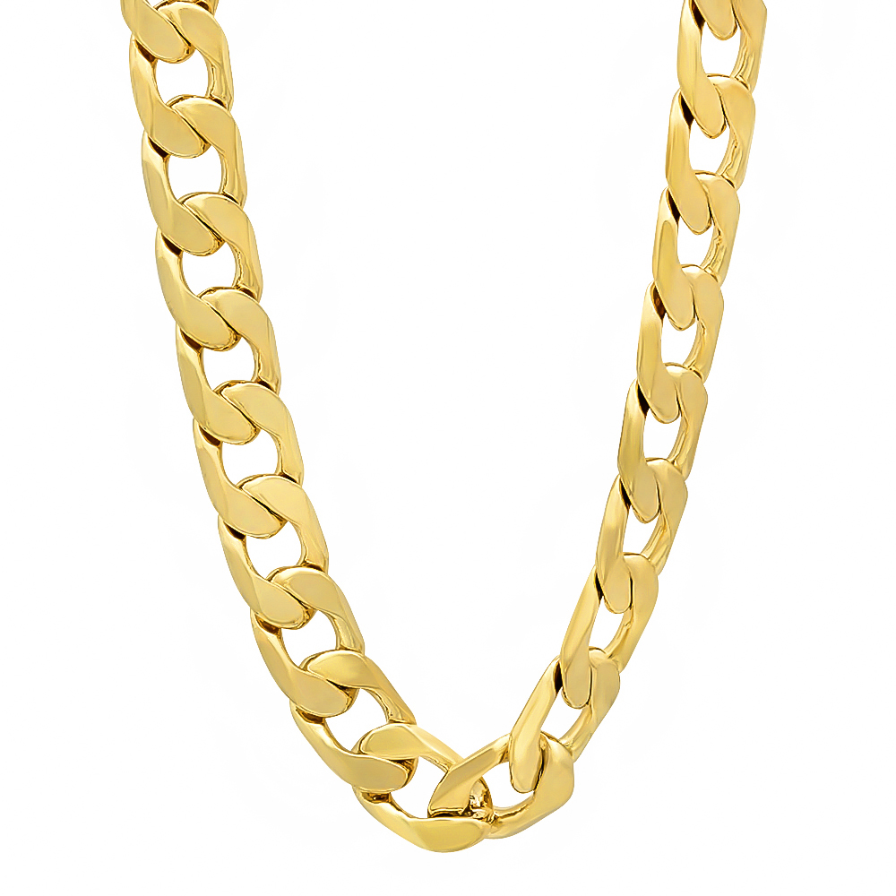 The Bling Factory - 8mm 14k Gold Plated Cuban Link Curb Chain Necklace +  Microfiber Jewelry Polishing Cloth - Walmart.com c6a034520f