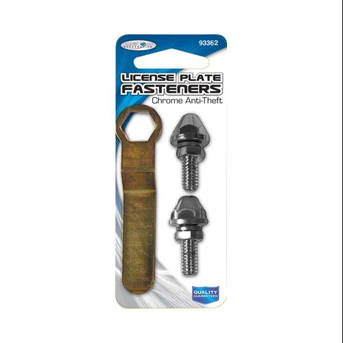 CUSTOM ACCESSORIES License Plate Fastener, With Tool, Anti-Theft