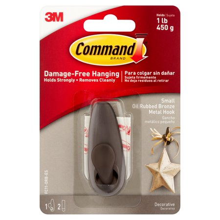 Command Forever Classic Hook  Oil Rubbed Bronze  Small  1 Hook  2 Strips Pack