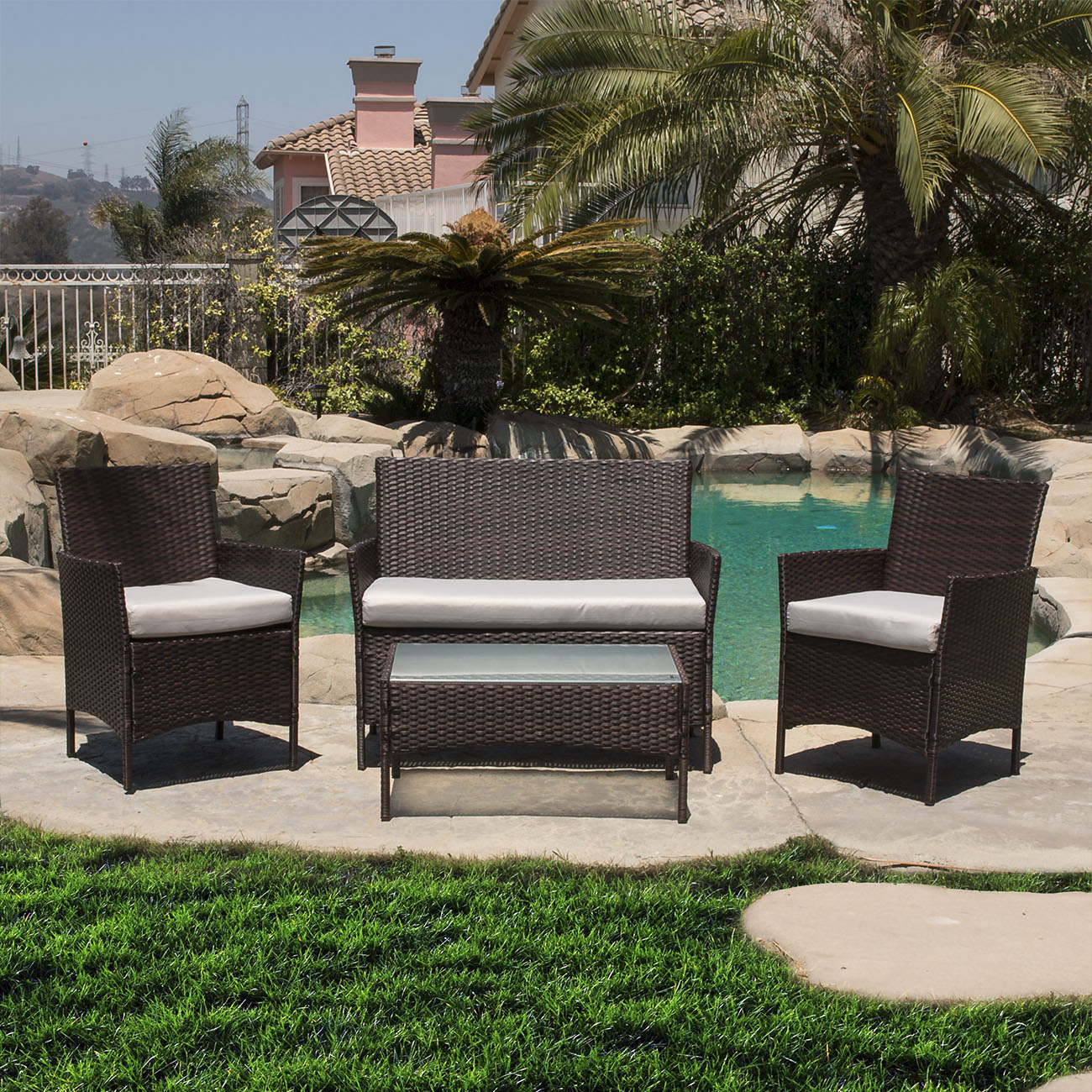 Belleze 4 PCS Cushioned Outdoor Wicker Patio Set Garden Lawn Rattan Sofa Furniture, Brown by Belleze