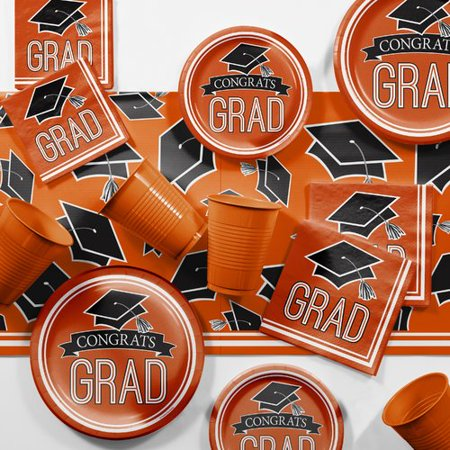 Graduation School Spirit Orange Party Supplies Kit - Party Supples