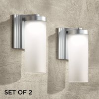 """Possini Euro Design Modern Outdoor Wall Light Fixtures Set of 2 LED Silver 10 1/2"""" Open Bottom Frosted Glass for House Porch Patio"""