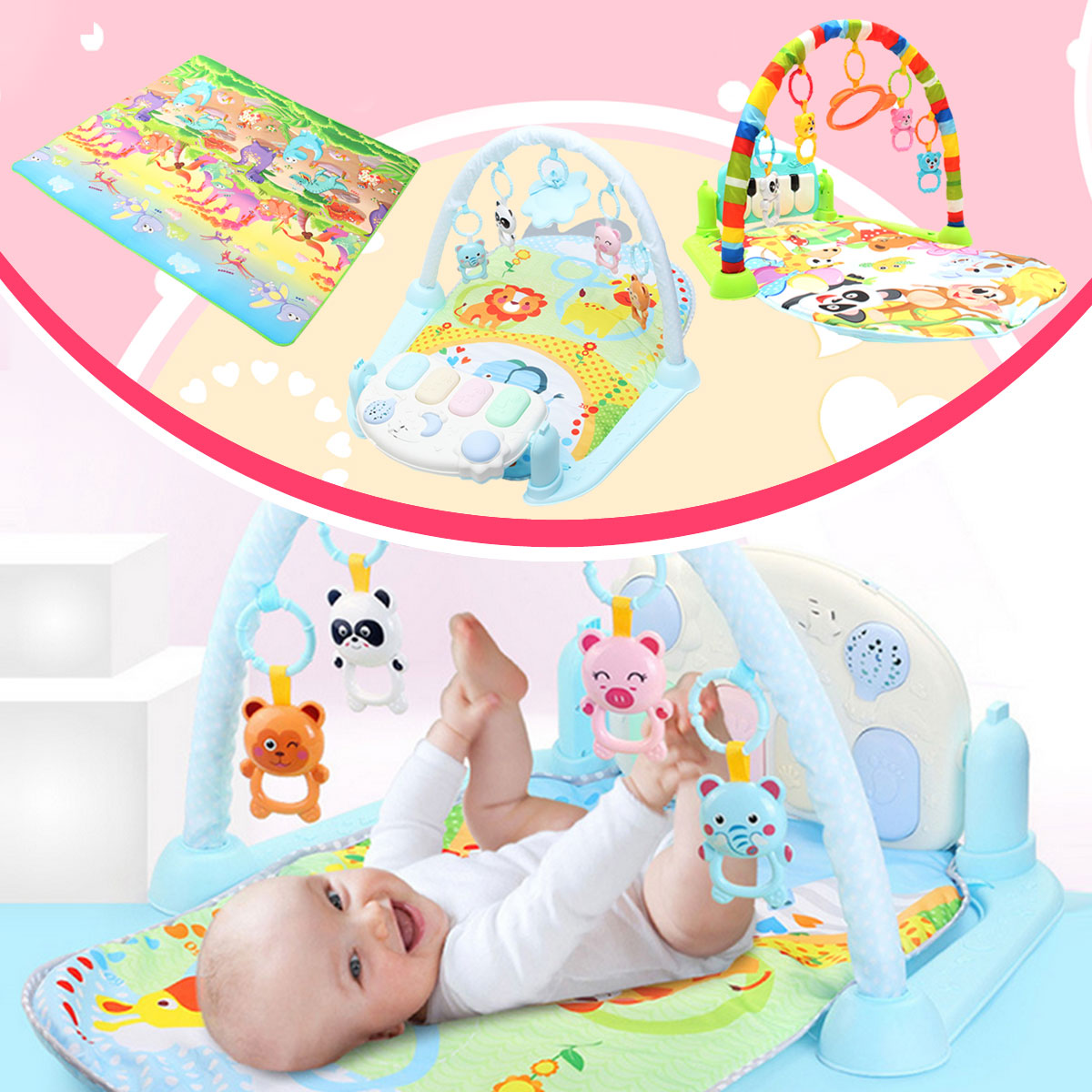 Kid Baby Play Mat Gym Hot Sell!!! 3 In 1 20 Melodies Musical Piano Activity Soft Fitness Four Kinds Of Play Night Light Baby Lullaby Kid Playmat Sleeping Cotton Mat Christmas Gift