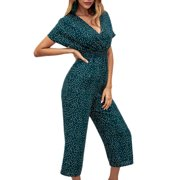Women's Surplice Wide Leg Jumpsuit V-Neck Short Sleeve High-Waist Causal Spotted Jumpsuits Summer Holiday Playsuit Bodysuit Romper
