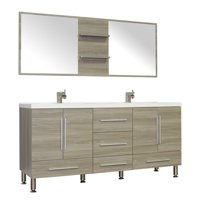 "Ripley 67"" Double Modern Bathroom Vanity in Gray without Mirror"