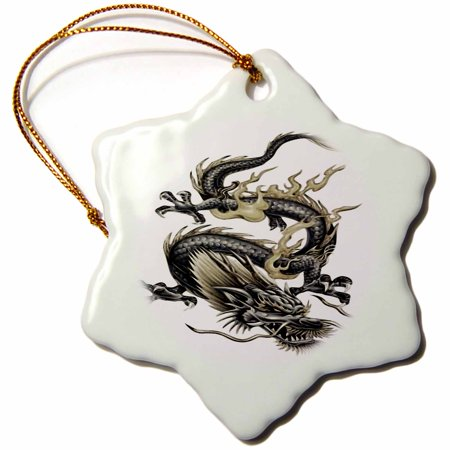 3dRose Lucky Dragon - dragon, chinese dragon, year of the dragon, chinese new year, gift idea, fathers day - Snowflake Ornament, 3-inch - Chinese New Year Decor Ideas