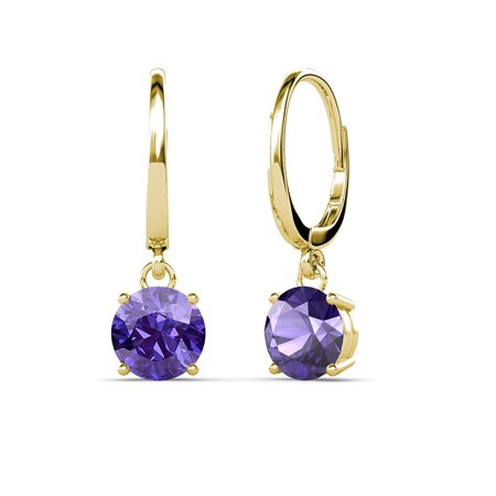 Iolite 6.5mm Four Prong Solitaire Dangling Earrings 2.00 ct tw in 14K Yellow Gold (Dangling Iolite Earrings)