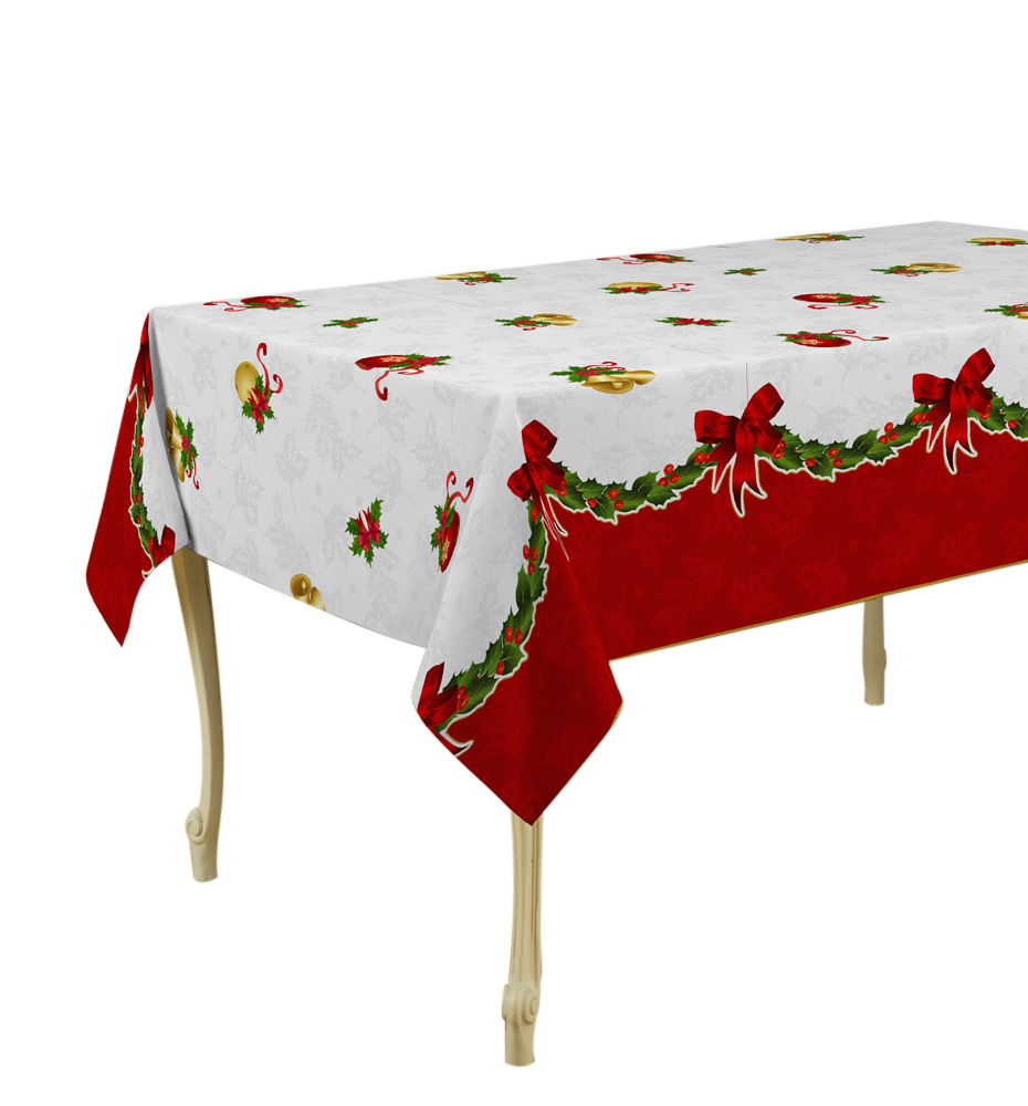 "Tablecloth White and Red Christmas Jingle Bells, Stain Resistant, Washable, Liquid Spills bead up, 63-Inch Round, Seats 8 to 10 People (Other Size  60 x 80"", 60 x 95"", 60 x 120"")."
