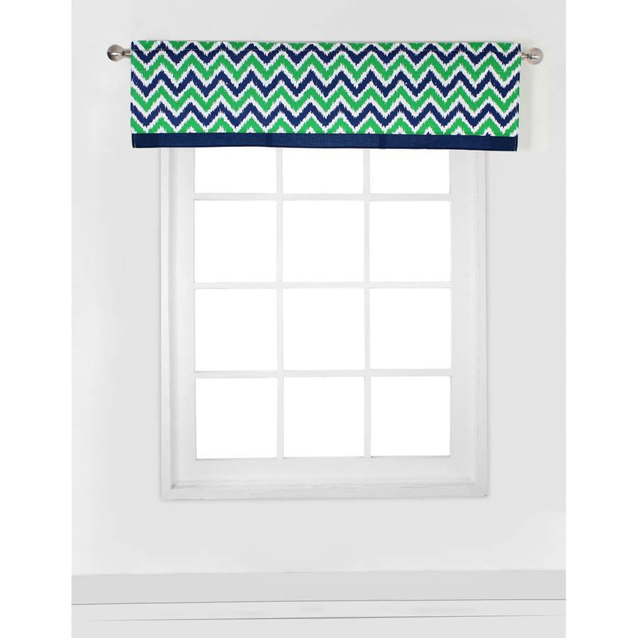 "Bacati MixNMatch Navy/Green Zigzag Window Valance 15""x54"" 100% Cotton percale fabrics"