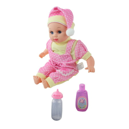Cute Singing Baby Doll Toy with a Baby Bottle & Shampoo Bottle. Soft Rubber Doll, Girls Baby Doll, Toy Baby For Incredible Pretend Play, Fun And Smart Social Skill Development Toy, Toy Baby