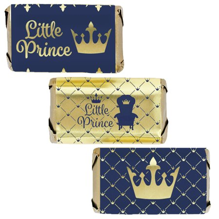 Royal Prince Baby Shower Themes (Gold Foil Prince Baby Shower Candy Labels 45ct - Royal Blue Little Prince Baby Shower Decorations for)