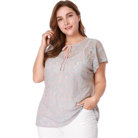 3f9b1d8dac5ae5 Women Plus Size Tie Neck Lace Blouse with Cami Top Blue 1X - image 1 of ...