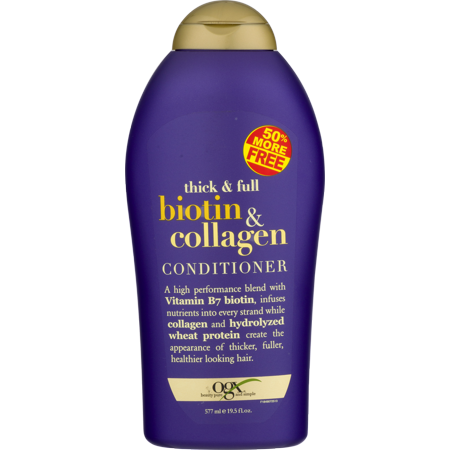 OGX Thick & Full Conditioner Biotin & Collagen, 19.5 FL (Best Conditioner For Straw Like Hair)