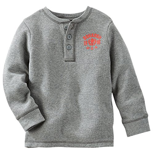OshKosh B'gosh Big Boys' Thermal Henley Shirt - Grey - 10 Kids