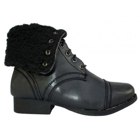 - Wild Diva Women Jetta-25F Lace Up Combat Military Boots With Foldable Cuff