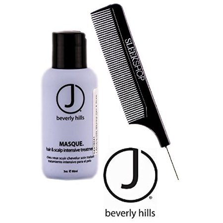 J Beverly Hills MASQUE Hair & Scalp Intensive Treatment Mask (w/ Sleek Pin Comb) - 3 oz / 90 ml - TRAVEL (Hair Mask For Itchy Flaky Scalp Diy)