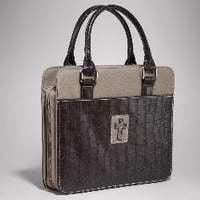 Croc Satchel Bag - Bible Cover-Fashion Croc Purse Style-Large-Tan