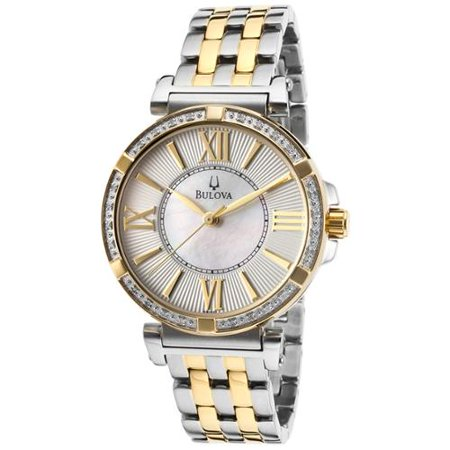 Bulova 98R167 Women's Diamond Two Tone Steel White MOP Dial Watch