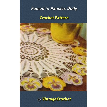 Framed in Pansies Dragon Doily Vintage Crochet Pattern - eBook (Dragon Pattern)