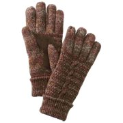 Isotoner Womens Brown Marled Cuffed Cable Knit Gloves