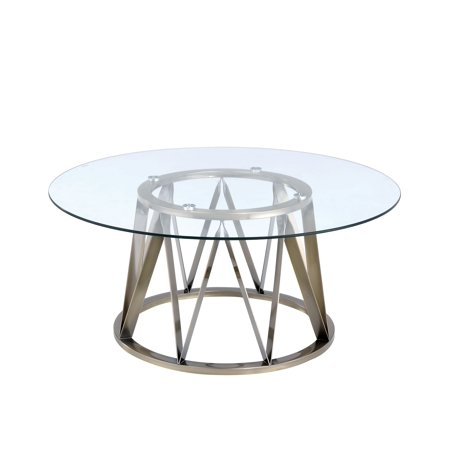 Acme Furniture Perjan Coffee Table, Clear Glass & Antique Brass