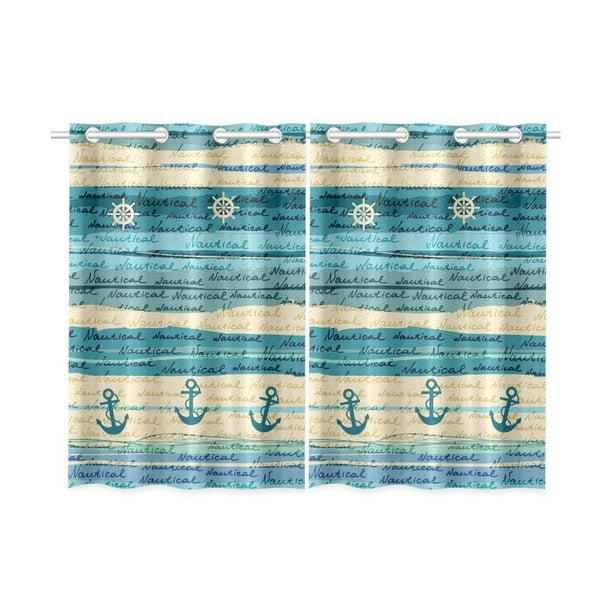 Cadecor Nautical Window Kitchen Curtain Anchor Pattern Window Treatment Panel Curtains 26x39 Inches Set Of 2 Walmart Com Walmart Com