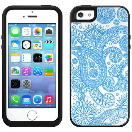 SKIN DECAL FOR OtterBox Symmetry Apple iPhone SE Case - Paisleys Outline Blue on White DECAL, NOT A CASE