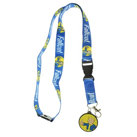 Safety Pin Charm Holder - Fallout Reversible Breakaway Keychain Lanyard with ID Holder, Vault Boy Rubber Charm and Collectible Sticker