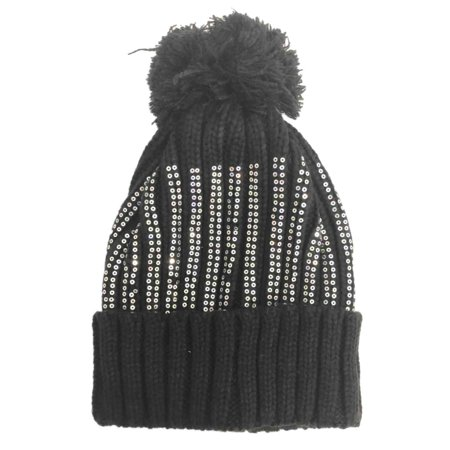 Fame - Womens Black   Silver Knit Sequin Pom Beanie Hat Knit Stocking Cap -  Walmart.com eb863e1944f