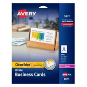 "Avery Clean Edge Business Cards, Uncoated, Two-Side Printing, 2"" x 3-1/2"", 200 Cards (5871)"