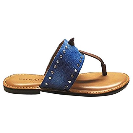 Rock & Candy Women's Blaney-D Flat Sandal, Blue Denim, 7 Medium US (Rock And Candy Flats)