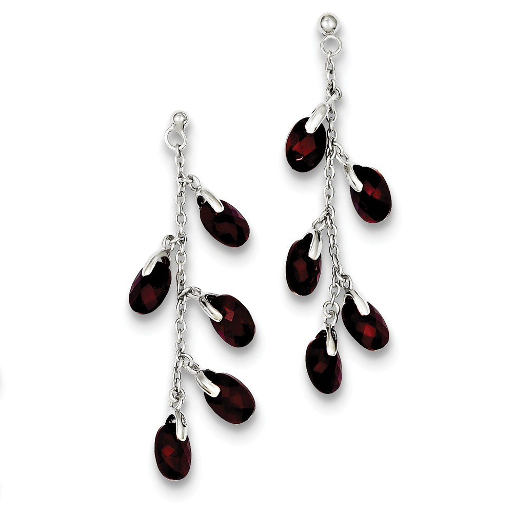 Sterling Silver Polished Dark Red Glass Earrings (1.5IN x 0.4IN )
