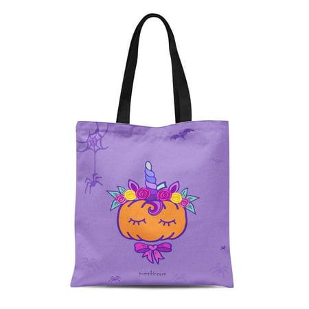 LADDKE Canvas Tote Bag Colorful Baby Pumpkin Unicorn Funny Halloween Orange Girly Autumn Durable Reusable Shopping Shoulder Grocery Bag](Halloween Shopping)