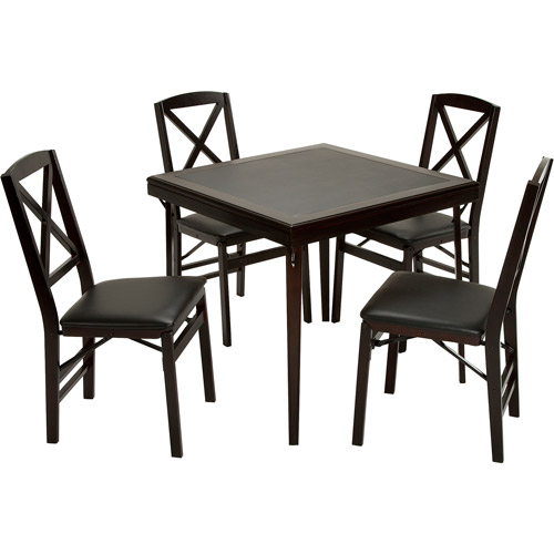 Cosco 5-Piece Wood Folding Dining Set with Cross Back Chairs, Espresso/Black