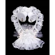 """8.5"""" Victoria Lynn White Lace Swan, Heart and Bells Wedding Cake Topper"""