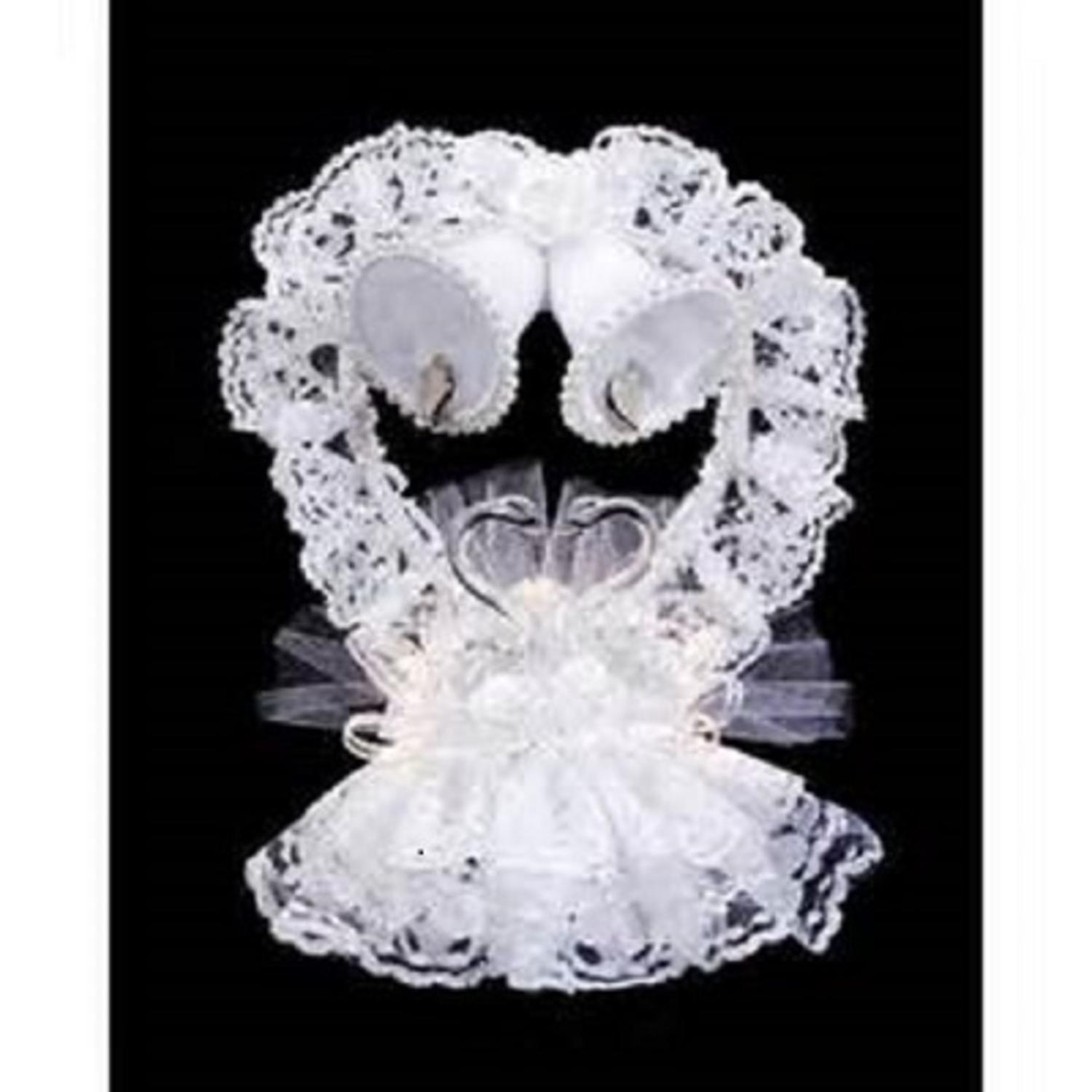 "8.5"" Victoria Lynn White Lace Swan, Heart and Bells Wedding Cake Topper"