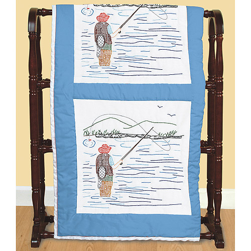 """Jack Dempsey Fly Fishing Stamped White Quilt Blocks, 18"""" x 18"""""""