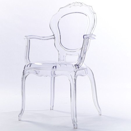 2xhome Clear Transparent Modern Ghost Chair Armchair Vanity Dining Room Lounge Acrylic Molded Mirrored Furniture Desk Vanity Dining Chairs With Arms Armchair Accent Desk Work Living Room Office