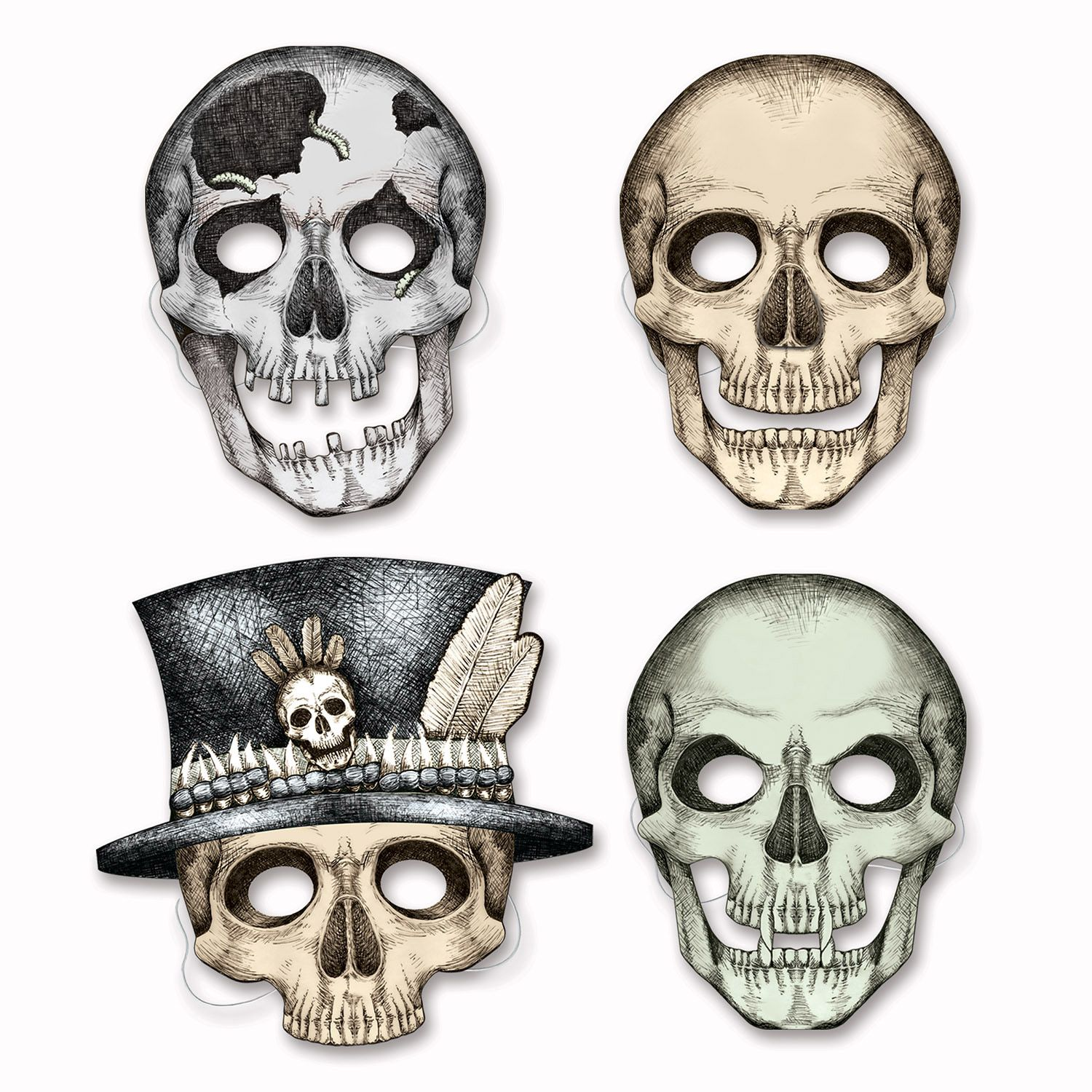 Skelton Paper Masks (4 Pack) - Party Supplies