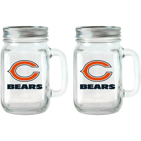 NFL 16 oz Chicago Bears Glass Jar with Lid and Handle, 2pk