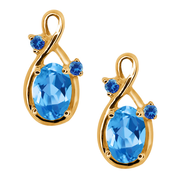 1.18 Ct Oval Swiss Blue Topaz and Blue Diamond 14k Yellow Gold Earrings